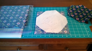 WIP Flannel blocks staged to cut corners