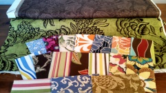 Fabric samples in 20 different colors and patterns