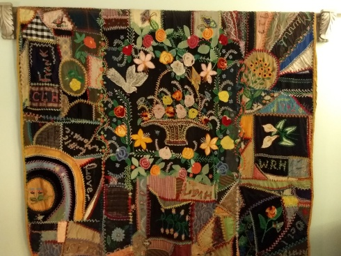 Crazy Quilt by Great grandmother Mandy Hall, very elaborate embroidery